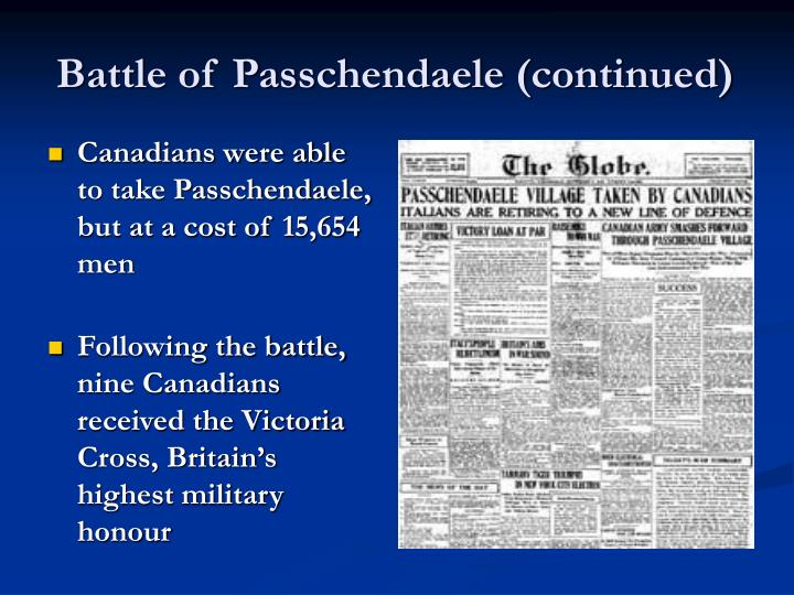 Battle of Passchendaele (continued)