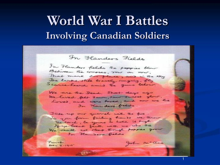 World war i battles involving canadian soldiers