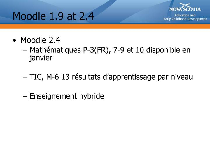 Moodle 1.9 at 2.4