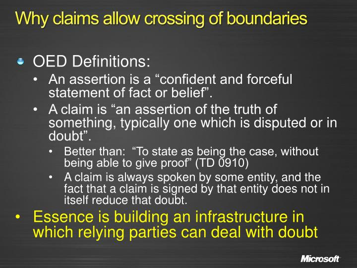 Why claims allow crossing of boundaries