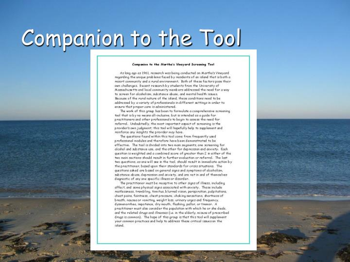 Companion to the Tool
