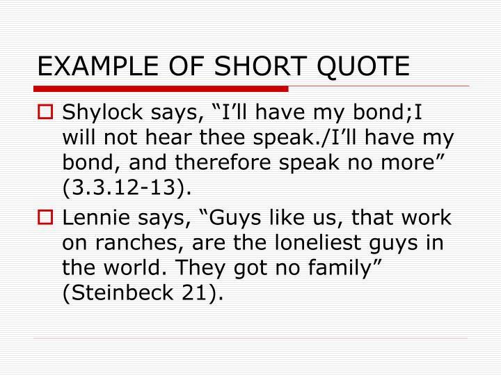 EXAMPLE OF SHORT QUOTE