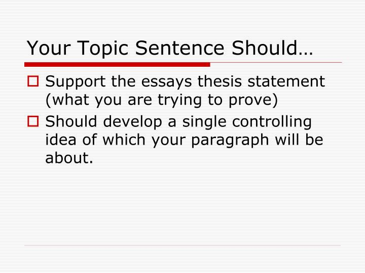 Your Topic Sentence Should…