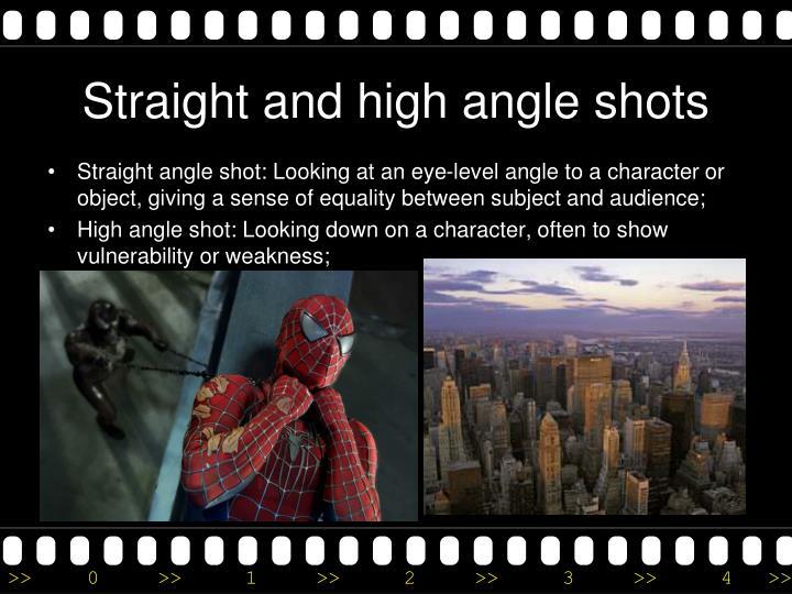 Straight and high angle shots