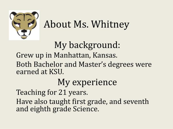 About ms whitney