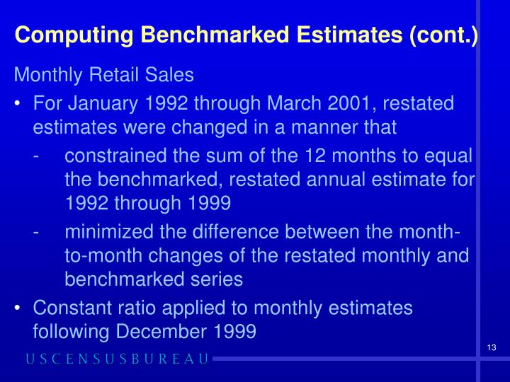 Computing Benchmarked Estimates (cont.)