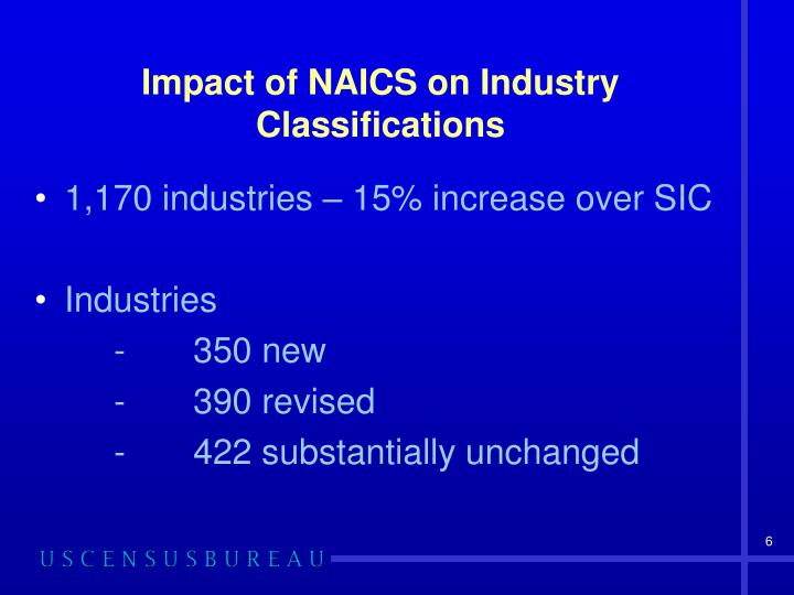 Impact of NAICS on Industry Classifications