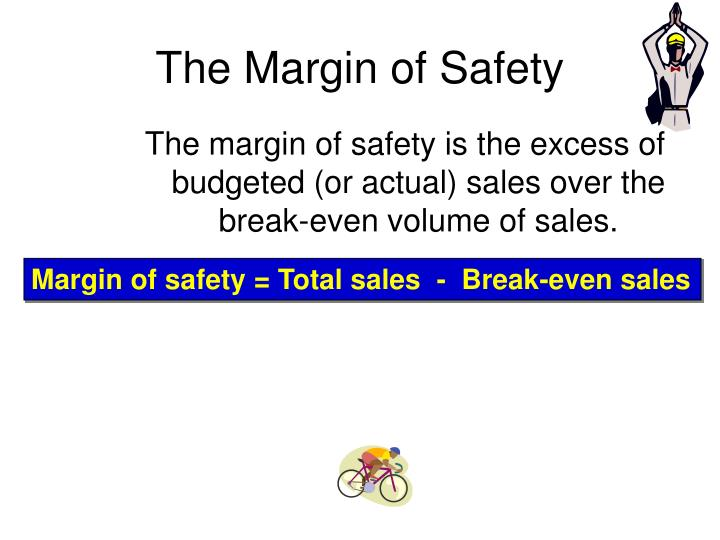 The margin of safety is the excess of budgeted (or actual) sales over the break-even volume of sales.