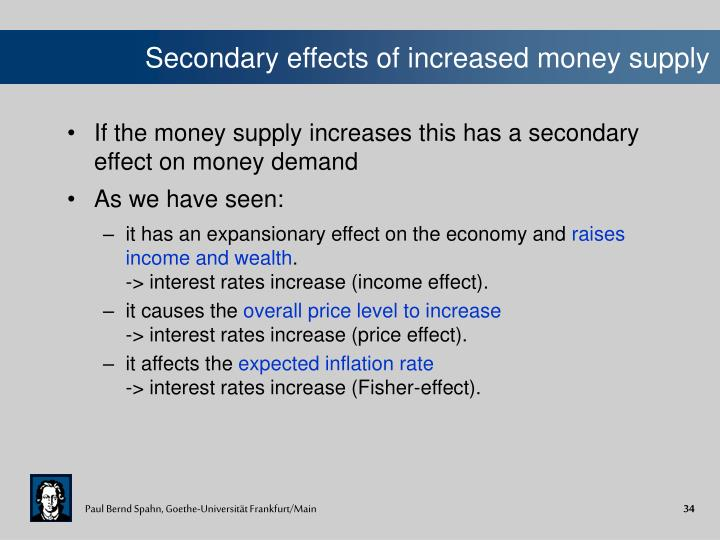 Secondary effects of increased money supply