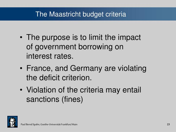 The Maastricht budget criteria