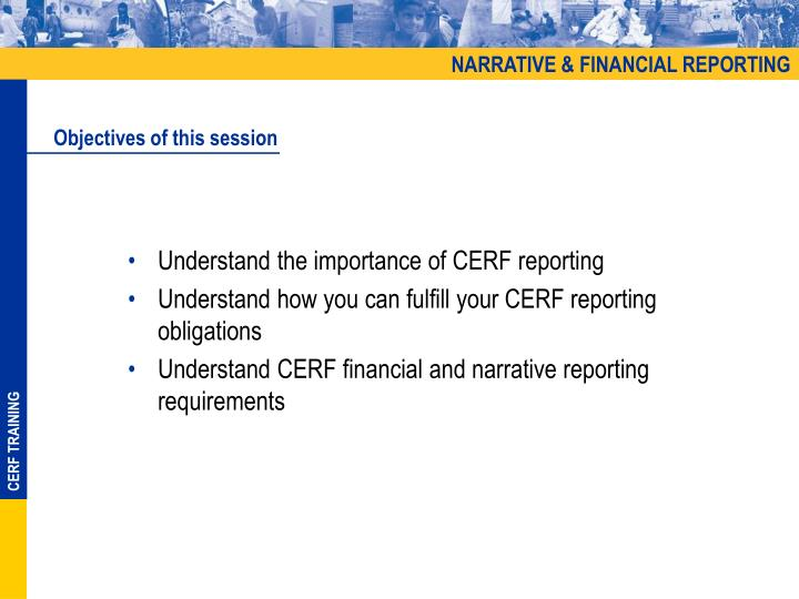 NARRATIVE & FINANCIAL REPORTING