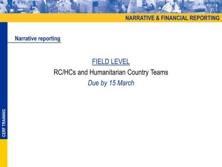 NARRATIVE & FINANCIAL REPORTING