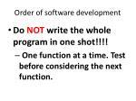 order of software development