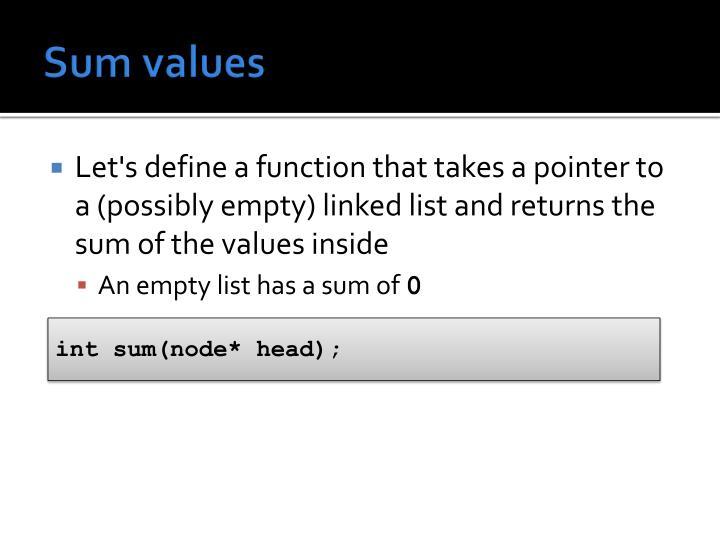 Sum values