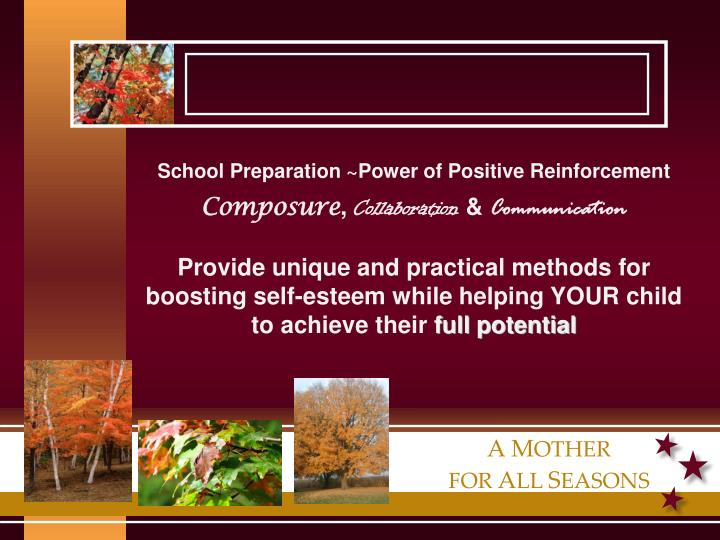 School Preparation ~Power of Positive Reinforcement
