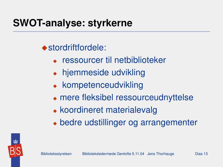 SWOT-analyse: styrkerne
