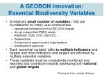 a geobon innovation essential biodiversity variables