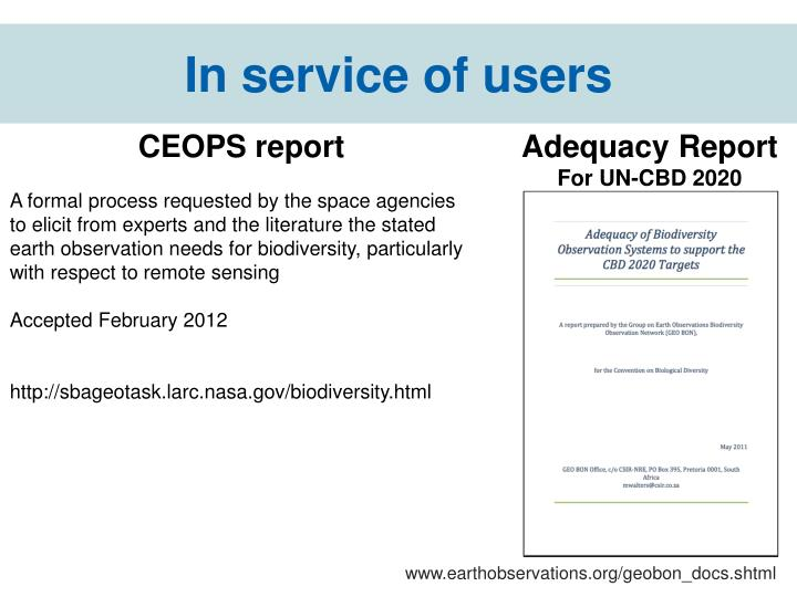 In service of users