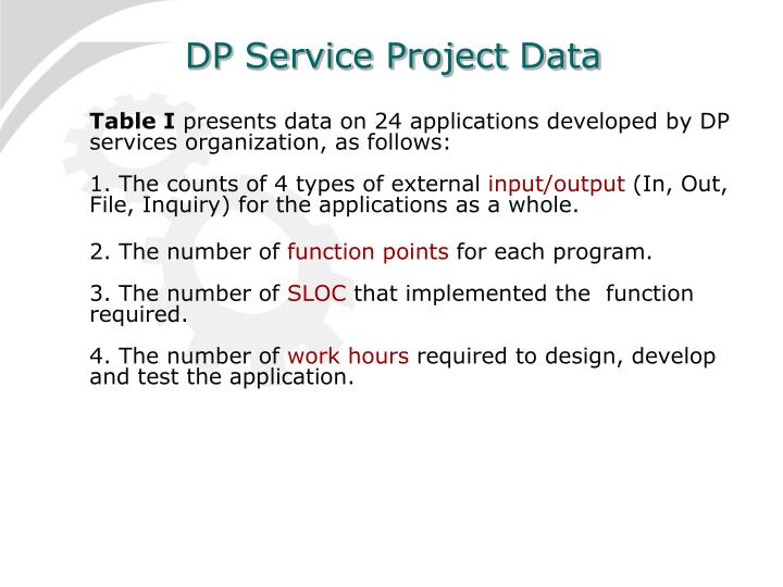 DP Service Project Data