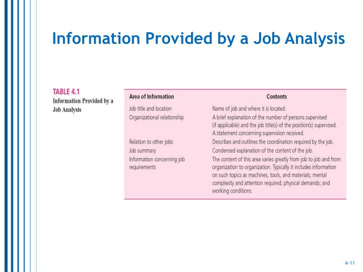 Information Provided by a Job Analysis