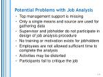 potential problems with job analysis