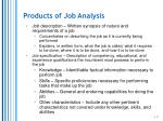 products of job analysis