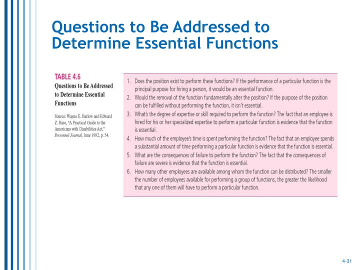 Questions to Be Addressed to Determine Essential Functions