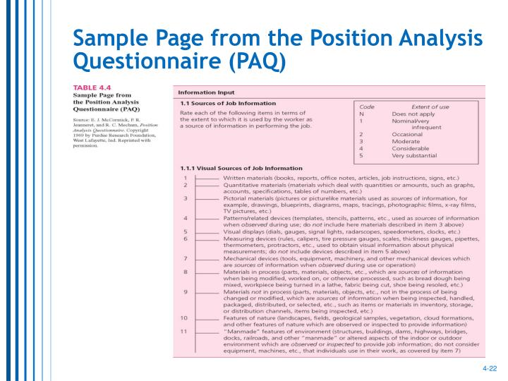 Sample Page from the Position Analysis Questionnaire (PAQ)