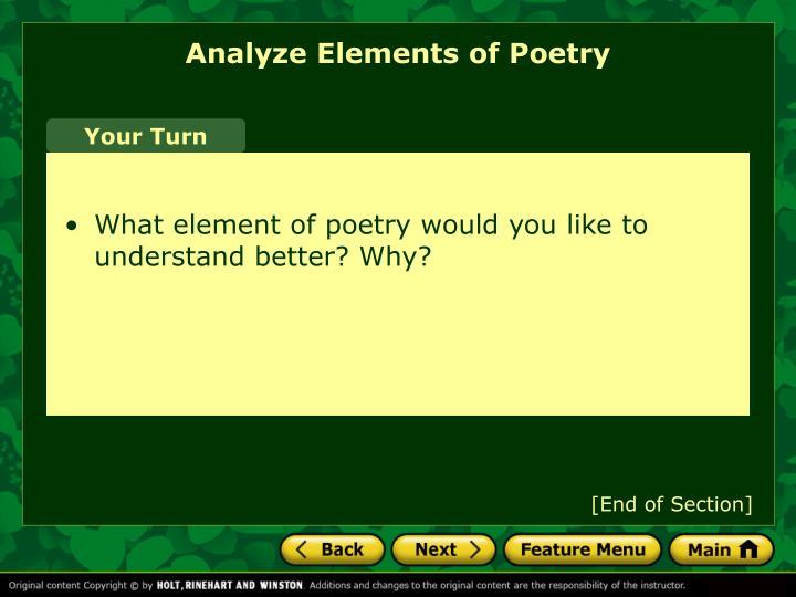Analyze Elements of Poetry