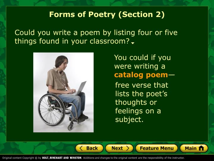 Forms of Poetry (Section 2)