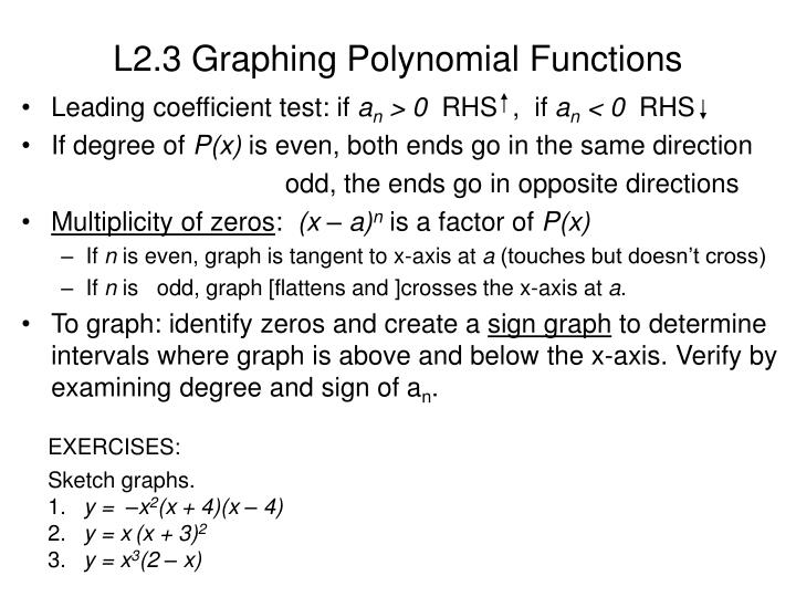L2.3 Graphing Polynomial Functions