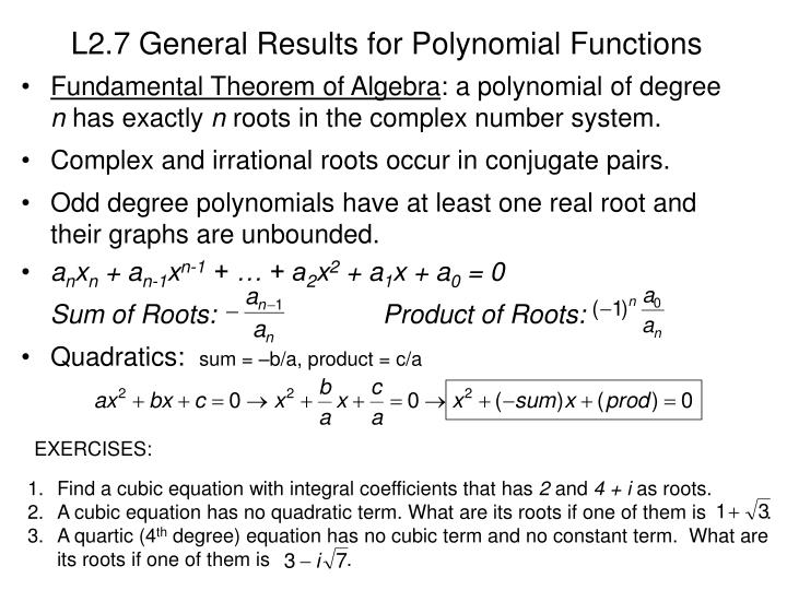 L2.7 General Results for Polynomial Functions