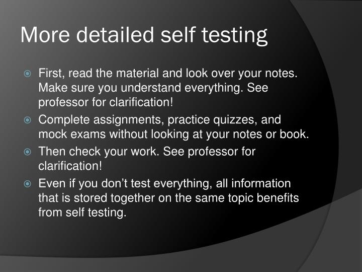 More detailed self testing