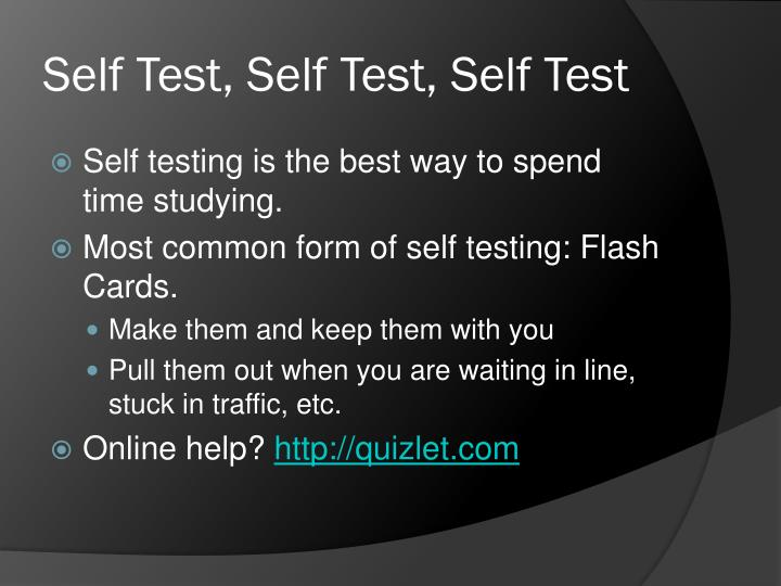 Self Test, Self Test, Self Test