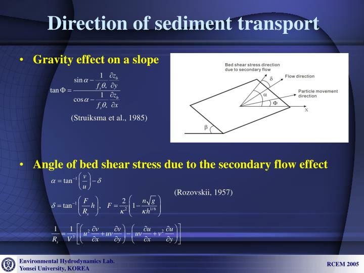 Direction of sediment transport