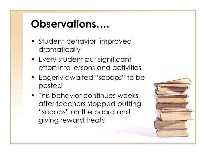 Observations….