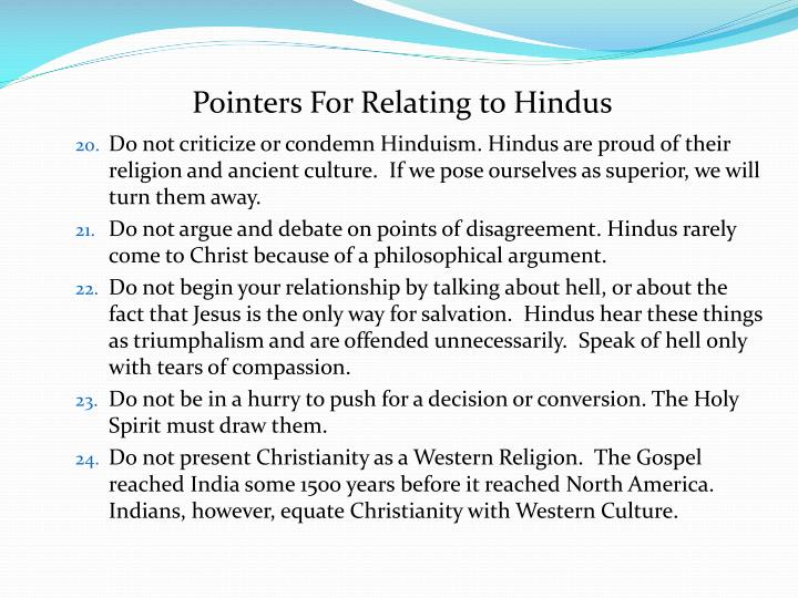 Pointers For Relating to Hindus