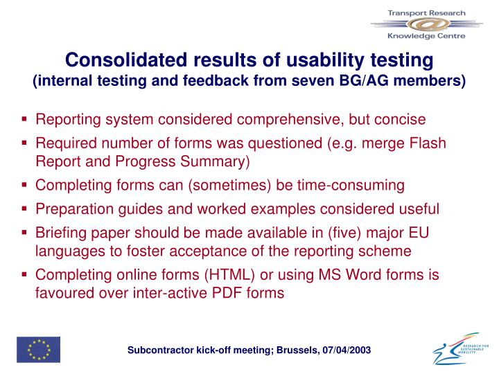 Consolidated results of usability testing