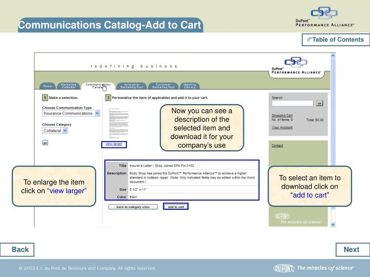Communications Catalog-Add to Cart