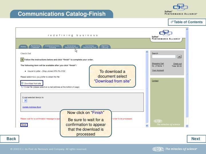 Communications Catalog-Finish