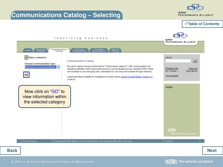 Communications Catalog – Selecting