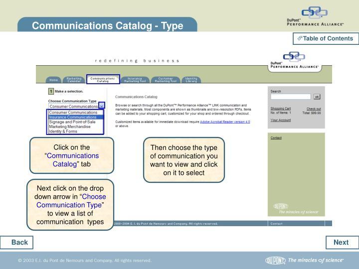 Communications Catalog - Type