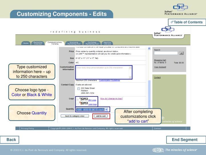 Customizing Components - Edits