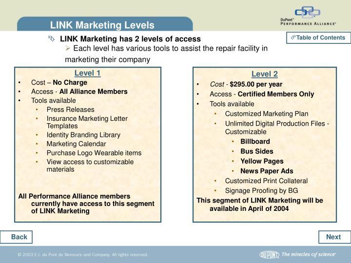 LINK Marketing Levels