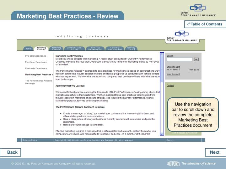 Marketing Best Practices - Review