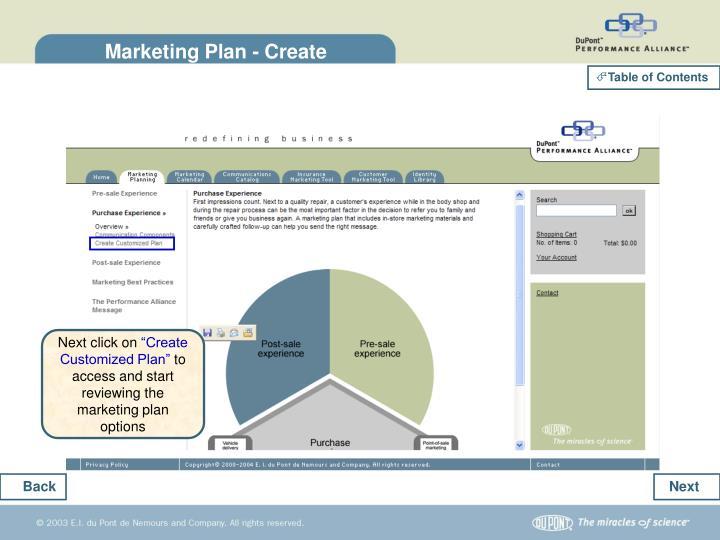Marketing Plan - Create