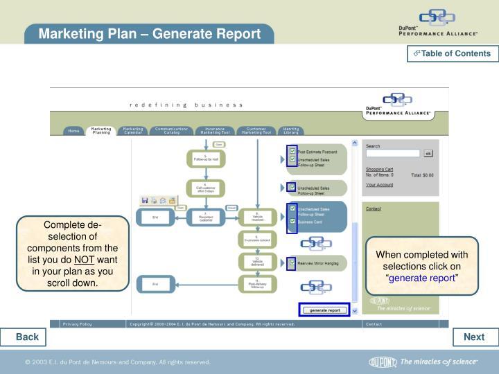 Marketing Plan – Generate Report
