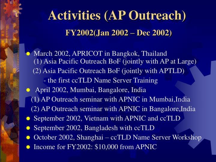 Activities (AP Outreach)
