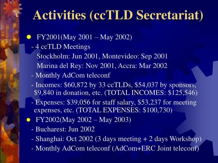 Activities (ccTLD Secretariat)