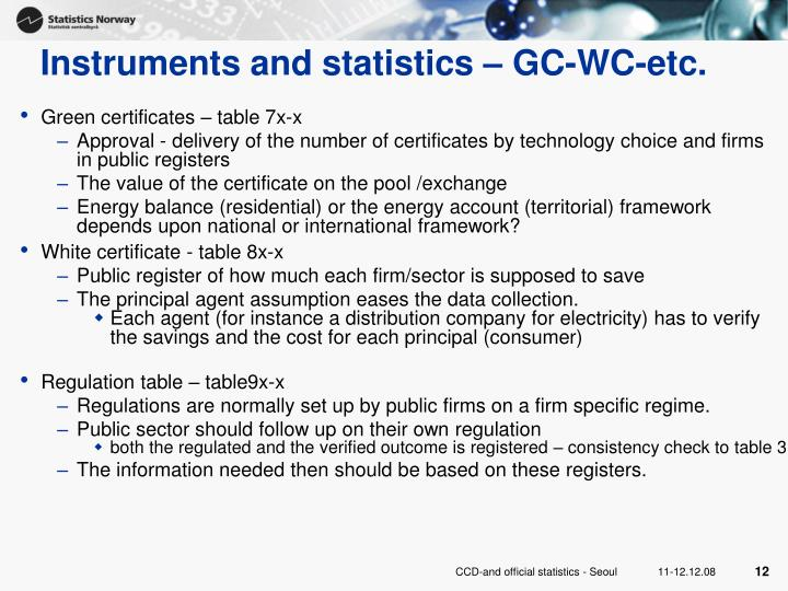 Instruments and statistics – GC-WC-etc.